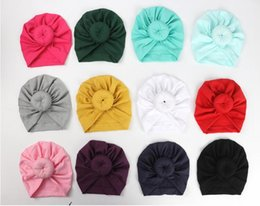 $enCountryForm.capitalKeyWord UK - 2019 Cute Infant Baby Kids Toddler Children Unisex Ball Knot Indian Turban Colorful Spring Cute Baby Donut Hat Solid Color Cotton Hairban