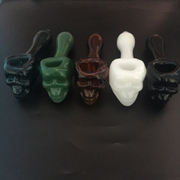 skull oil burner bong Canada - Colorful Pyrex Glass Oil Burner 5.0 inch Water Pipes Skull Smoking Hand Pipes Tobacco Dry Herb For Silicone Bong Glass Bubbler