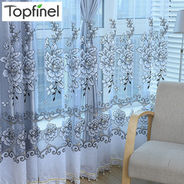 curtain blinds Australia - Top Finel New grey shade luxury modern Jacquard tulle sheer window curtains for living room bedroom blinds embroidered drapes