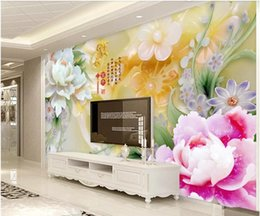 $enCountryForm.capitalKeyWord Australia - WDBH 3d photo wallpaper custom mural Chinese jade carving peony flower background living room Home decor living room wallpaper for walls 3 d