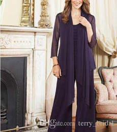 $enCountryForm.capitalKeyWord NZ - Women 3 Pieces Elegant Formal Chiffon Mother of Bride dress pants suit Long Sleeves With Jacket Outfit for Wedding Groom