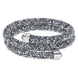 Circle Star Ring Australia - Swarovski new crystal wild magic color fashion personality simple star dust spiral double ring bracelet gray 5237762