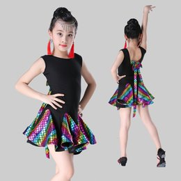 $enCountryForm.capitalKeyWord NZ - Sequin Latin Dance Dress for Girls Kids Sleeveless Ballroom Tango Salsa Modern Skirt 2019 New Latin Competition Dancewear
