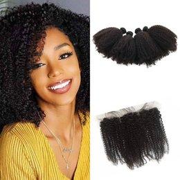 $enCountryForm.capitalKeyWord Australia - Mongolian Silk Frontal With Hair Bundles Afro Kinky Curly Human Hair 5pcs lot Fast Shipping G-EASY