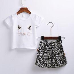 $enCountryForm.capitalKeyWord Australia - Summer Simple Kid Baby Girl Short Sleeve Cartoon Cat Letter Tops Short Pants Outfits Set New Style Suit Loose Hot