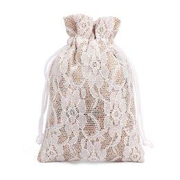 50/Лот 8*10 см кружева белье подарочная сумка пылезащитный небольшой джутовый мешок ювелирные изделия кольцо ожерелье конфеты шнурок мешок бамбука уголь для хранения упаковки  на Распродаже