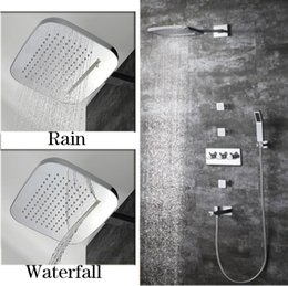 concealed shower set Australia - Bathroom Dual Shower Head Faucet Conceal In Wall Mounted Rain Shower Head Set Massage Jet System with 4 Way Hot Cold Diverter Valve