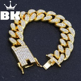 $enCountryForm.capitalKeyWord NZ - Hiphop Men Simulated Diamonds Bracelet Cuban Links & Chains Gold Color Alloy Bracelet For Bangle Male Jewelry Accessory J190625
