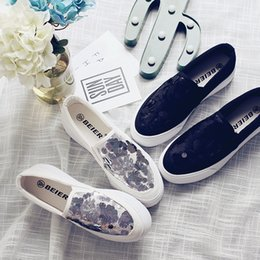 korean ladies summer lace shoes Australia - 1Bling Handmade Small White Shoes Ladies Lace Breathable Loafers Women Korean Thick Heel Canvas Flats Espadrilles Student Zapatos