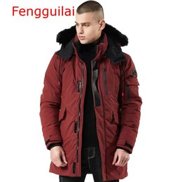 Wholesale men fur hooded trench coat for sale - Group buy Winter Coat Men Windbreaker Fur Hooded Thicken Jacket Men s Streetwear Hiphop Trench Coats Long Parka jaqueta mascul