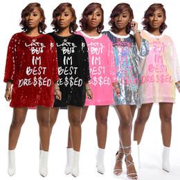 Wholesale best hip hop dressing for sale – custom Novelty LATE BUT IM BEST DRESS Letter Print Loose Sequins Tops for Women Crew Neck Hip Hop Club Party Ladies Shirts Dress