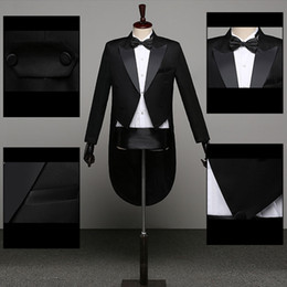 men dress xl NZ - Tuxedo Dress XS-XL Men Classic Black Shiny Lapel Tail Coat Tuxedo Wedding Groom Stage Singer 2-Piece Suits Dress Coat Tails 2020