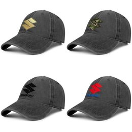 motorcycle ball caps NZ - Suzuki Original logo motorcycles Unisex designer vintage Denim Adjustable Washed Flat cap summer hat Flash gold black camouflage vitara