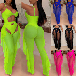 leg opening trousers 2019 - Sexy Women Beach Mesh Ruffles Edge Sheer Wide Leg Pants Transparent See through Summer Holiday Sea Cover Up Bikini Open