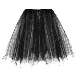 Fashion tutu skirts For adults online shopping - 2019 Fashion Tulle Mini Skirts For Womens Paillette Elastic Layered Short Skirt Solid Color Adult Tutu Dancing Skirt Jupe