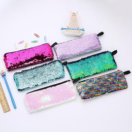wholesalers for door gift bag UK - Reversible Mermaid Sequins Pencil Case Colorful Glitter Pencil Bag For Girls Gifts Pencilcase Stationery Pen bag LX2617