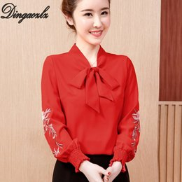 b07c46dc9617 Black Bow tie Blouse online shopping - Dingaozlz New Fashion Women shirt  Bow tie Female Tops