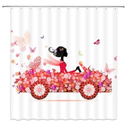 $enCountryForm.capitalKeyWord UK - Pink Flower Butterfly Car Shower Curtains Pretty Girl Bathroom Decor Waterproof Polyester Fabric Home Bath Shower Curtain Set 69 x 70 Inch