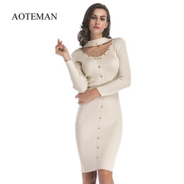 62ba8ecafab Aoteman Autumn Winter Dresses Women New Vintage Sexy Slim Long Sleeve  Bodycon Knitted Rivet Dress Solid Party Dresses Vestidos Q190402