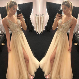 Sparkly Champagne Tulle Australia - Sparkly Gold Champagne Prom Dresses Sexy V neck Sheer Top Beaded Sequins tulle vogue Front Slit Evening Party Gowns Boho Engagement Dresses