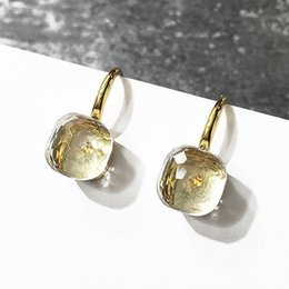 Gold Color Crystals Australia - High Quality Candy Style Earring 17 kinds of color Crystal 3 Gold Color Drop Earrings for Women Best Gift DJE001