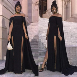$enCountryForm.capitalKeyWord Australia - African Sexy Off Shoulder Side Slit Prom Dresses With Wrap Black Satin Long Evening Gowns Plus Size Formal Party Dresses For Black Girls