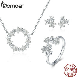 $enCountryForm.capitalKeyWord Australia - 3PCS Jewelry Sets 925 Sterling Silver Shining Star Flower Rings Stud Earrings Necklaces Birthday Anniversary Girlfriend Fine Jewelry Gift