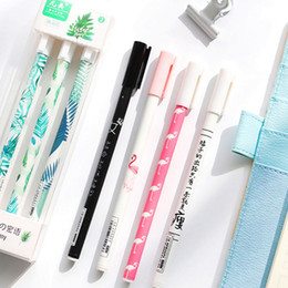 $enCountryForm.capitalKeyWord Australia - 3PCS  Set Green Plants Sakura Gel Pen For Teacher Gift Stationery School Office Supply Black Ink 0.5mm