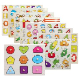 infant education NZ - 30cm Kid Early Educational Toys Baby Hand Grasp Wooden Puzzle Toy Alphabet And Digit Learning Education Child Wood Jigsaw Toy