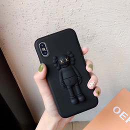 AmericAn iphone online shopping - YunRT D Stereo silicone KAWS XX American trend brand phone cover for iphone X XS Max Xr s Plus toy doll Emboss Case Coquille
