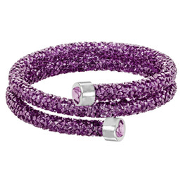 Circle Star Ring Australia - Swarovski new crystal wild magic color fashion personality simple star dust spiral double ring bracelet purple 5292451