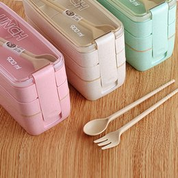 Bento chopsticks online shopping - 3 Layers Lunch Box Food Storage Container Microwave Bento Set Boxes For Students Straw Containers LJJL50