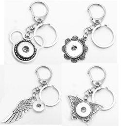 Wings Owl Butterfly Christmas Tree Flocon de neige Amour bouton-pression porte-clés porte-clés porte-clés (fit 18mm s'enclenche 20mm)