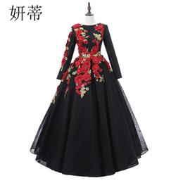 Gold Evening Dresses S Neck Lace UK - Vintage Black Lace Long Sleeve Ball Gown Prom Dresses 2018 Applique Flowers Beading Scoop Neckline Custom Made Evening Dress J190613