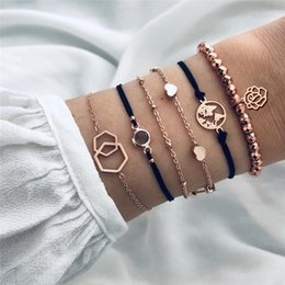 $enCountryForm.capitalKeyWord Australia - GIVVLLRY 6 pcs set Champagne Bead Bracelets for Women Minimalist Gold Geometric Rose Charm Chain Bracelets Set