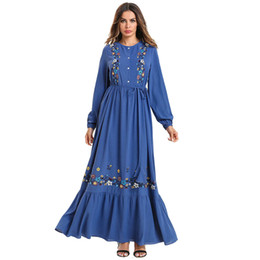 Wholesale abaya long dress for sale - Group buy Blue Women Muslim Abaya Long Maxi Dress Embroidery Kaftan Turkish Dubai Bandage Bangladesh Robe Islamic Plus Size Clothing