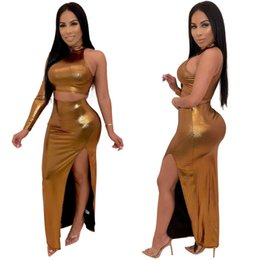 063fdad7b65 Sexy Women Party Outfits One Shoulder Crop Top+ Side Cut out Bandage  Bodycon Skirt Set Gold Silver Two Piece Skirt Set Club Wear