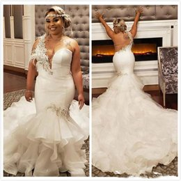 Size feather dreSS online shopping - Arabic Aso Ebi Plus Size Wedding Dresses One Shoulder Crystals Bridal Dresses Mermaid Backless Wedding Gowns