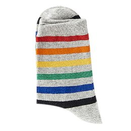 girl tight cotton short NZ - Women Teen Girls Harajuku Rainbow Striped Crew Socks Preppy Style Hip-Hop Skateboard Cotton Novelty Sports Short Tube Hosiery