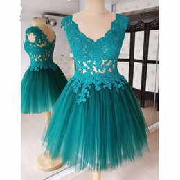 $enCountryForm.capitalKeyWord UK - Turquoise Lace Tulle Short Prom Dresses Graduation 2019 V-neck Sheer Cap Sleeve Elegant Formal Evening Gowns Homecoming Dress Party Girls