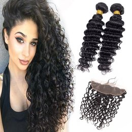 Discount 13x4 lace frontal malaysian - Malaysian Unprocessed Human Hair 2 Bundles With 13X4 Lace Frontal Pre Plucked Deep Wave Curly 8-28inch Bundles With Fron