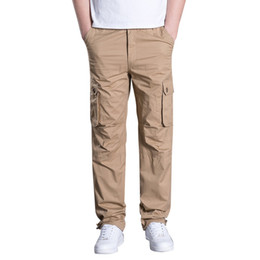 grey casual trousers UK - Cargo Pants Men cotton loose multi-pocket straight casual hip hop trousers streetwear running jogging sports pants plus size