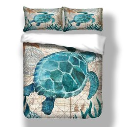 $enCountryForm.capitalKeyWord Australia - 3D Print Bedding Set Single Double King Size for Home Textile with Blue Turtle Ocean Cartoon Style for Kids Comforter Cover Set