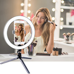 phone tripod holder 2020 - Photography LED Selfie makeup mirror Light 260MM Dimmable make up Camera Phone Lamp with Table Tripods phone stand holde