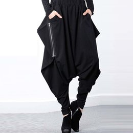 9b802131fc2 Zanzea Women Black Elastic Waist Baggy Low-crotch Trousers Pockets  Irregular Gothic Long Pantalon Hip-hop Harem Pants Plus Size Q1904016