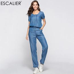 $enCountryForm.capitalKeyWord NZ - Escalier Womens Denim Jumpsuit Blue Long Pants 2018 Fashion Loose Tencel Playsuit Plus Size Women Clothing S-3xl Working Rompers Y19071701