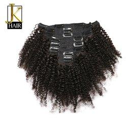 JK Saç Moğol Afro Kinky Kıvırcık Örgü Remy Saç İnsan Saç Uzantıları Klip Doğal Renk Tam Kafa 8 Adet / takım 120G Gemi Ücretsiz