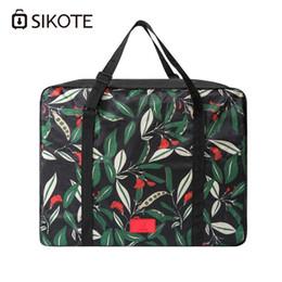 Green Plastic Straws Australia - SIKOTE Travel Bags Valise Packing Cubes Collapsible Portable Luggage Bag Print Waterproof Women Handbag Travel Totes
