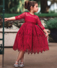 short frock girls NZ - Lace Girls Dress Red Dresses For Christmas Anniversaire Gift Party Frocks Tutu Toddler Kids Prom Gown Dress Children's Clothing