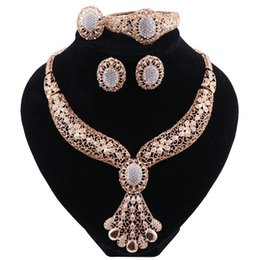 Wholesale wedding indian dresses for sale - Group buy Jewelry Sets For Women Fine Crystal Necklace Earrings Set African Beads Gold Color Pendant Wedding Dress Accessories
